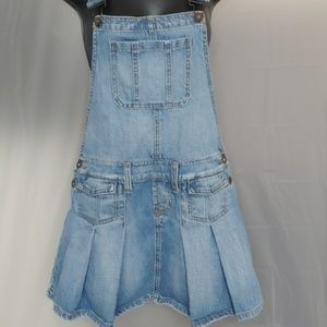 Lei blue jean overalls pleated skirt size 3